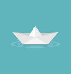 paper boat origami on water wave icon vector image