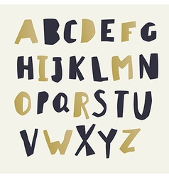 Paper cut alphabet black and gold letters easy vector