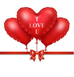 red heart balloons with red satin ribbon isolated vector image