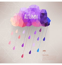 Retro cloud with rain symbol hipster background vector image vector image
