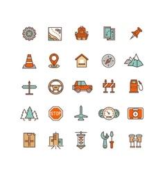 Road traffic flat icons vector image vector image