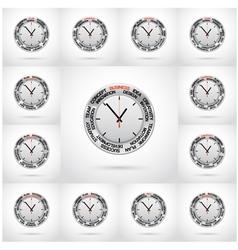 Set of clock red arrow specifies in a word vector image vector image