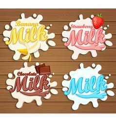Set of milk label designs vector