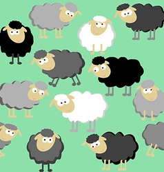 Sheep seamless pattern on a green background vector