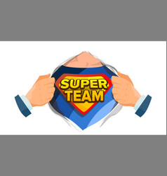 Super team sign superhero open shirt with vector