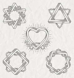 Tattoo style line art shape vector image