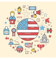 USA Presidential Election 2016 Line Art Thin Icons vector image vector image