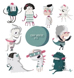 with lovely smiling monsters vector image
