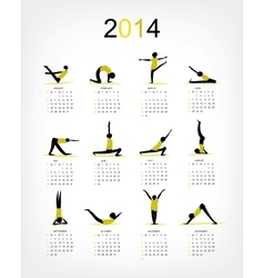 Yoga calendar 2014 for your design vector image vector image