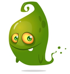 Cute cartoon green ghost halloween vector