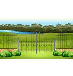 Scene with metal fence in the garden vector