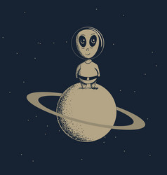 Alien explored a new planet vector