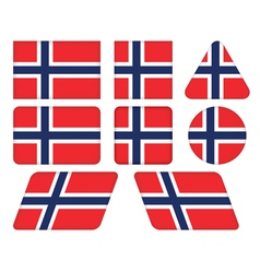 Buttons with flag of norway vector