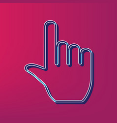 Hand sign   blue 3d printed vector