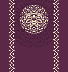 invitation card with round indian ornament vector image