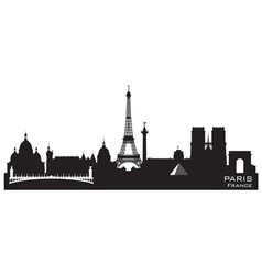 Paris france skyline detailed silhouette vector