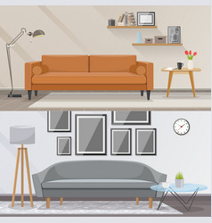 Elements of interior and living room furniture vector