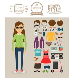 Hipster girl elements clothes hairstyles and vector