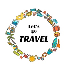 Lets go travel hand drawn travel concept cute vector