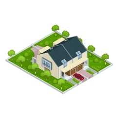 Modern townhouse flat 3d isometric vector