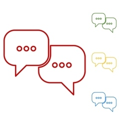 Speech bubles set of line icons vector