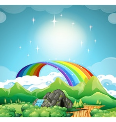 Rainbow over the mountains vector image