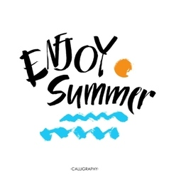Inscription enjoy summer great summer gift card vector