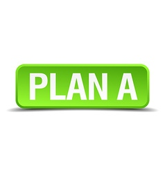 Plan a green 3d realistic square isolated button vector