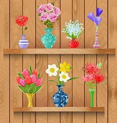 Wooden shelves with collection of modern vases vector image