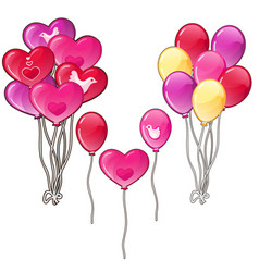 Balloons bouquets classic shapes and a heart vector