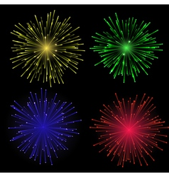 Bright abstract festive fireworks set vector image vector image