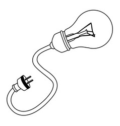 bulb with power cable icon vector image