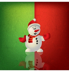 Celebration greeting with snowman on green red vector