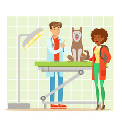 Cheerful woman and veterinary doctor examining dog vector