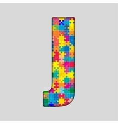 Color puzzle piece jigsaw letter - j vector