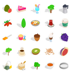 Drinking tea icons set isometric style vector