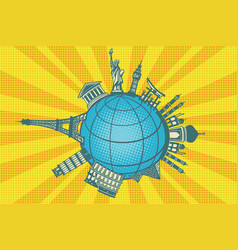 famous landmarks of the world round planet travel vector image