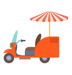 Fast food trolley motorbike icon cartoon style vector