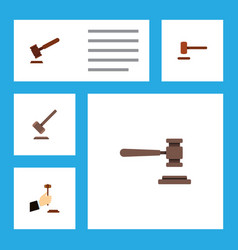 flat icon hammer set of tribunal law defense and vector image vector image