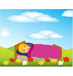Girl sleeps on nature vector