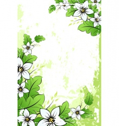 grunge flower background with leaves vector image