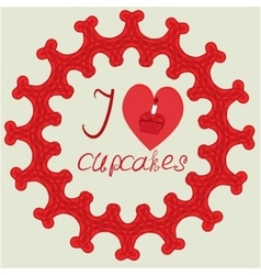 I love cupcake logo red vector