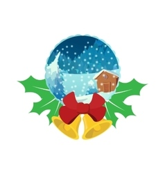 Merry Christmas glass snow ball icon vector image vector image