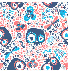 mexican day of the dead festive seamless pattern vector image vector image