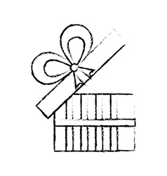 open gift box ribbon give party sketch vector image