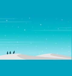Penguin silhouette on snow hill landscape vector