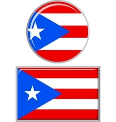 Puerto rican round and square icon flag vector