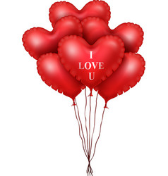 Red heart balloons isolated on white background vector
