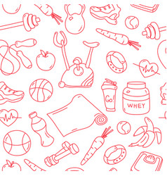 Red seamless pattern with fitness doodles vector
