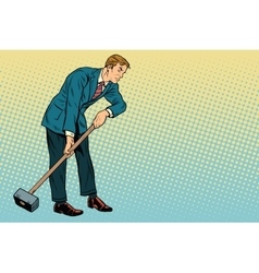 Retro businessman with a big hammer copy space vector image